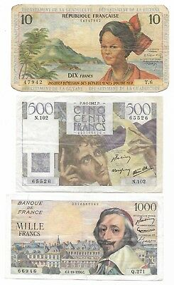 Lot 3 notes Guadeloupe Chateaubriand Cardinal Richelieu  F to VF