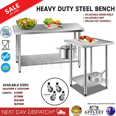 Stainless Steel Bench Table Home Kitchen Work 430 Commercial Food Grade Shelf