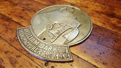 Antique William Barker Manufacturer Troy NY Plaque Collars Cuffs Pit Bull Dog