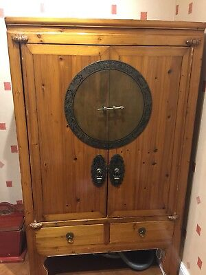 Chinese Brown Lacquer Wedding Cabinet Bought For £2000 .