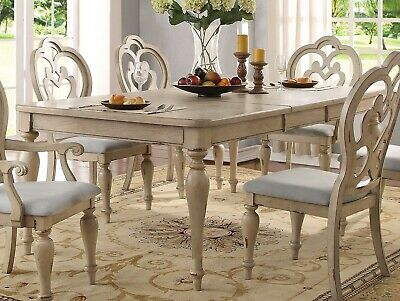 "Absolon French Country 66""-86"" Dining Room Set Table&4 Side Chairs Antique White"