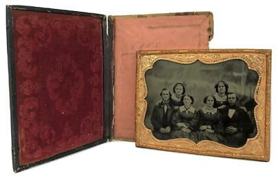 19thC Victorian Ambrotype Half Plate Portrait Photo Family Man Woman Framed Case