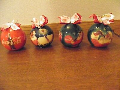 Lot 3 Vintage Coca Cola Coke Brand Round Christmas Ornaments Collectible