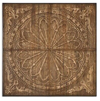 """Camillus Banana Tree Bark Wall Art w/ Metal Embossing in Antique Stain, 44""""x44"""