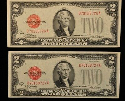 Consecutive 1928 F Two Dollar Red Seal Notes Item K-10