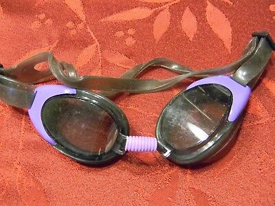 Diving swim goggles adult size purple & gray with adjustable strap