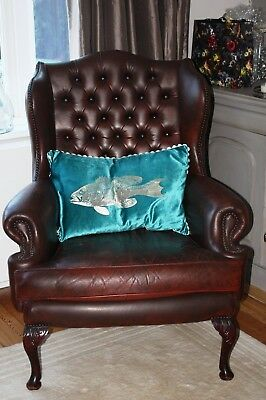 Leather Chesterfield Queen Ann Wing chair armchair