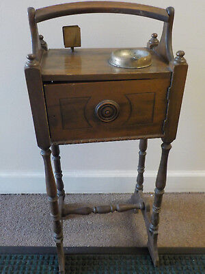 """VINTAGE WOODEN SMOKING STAND CABINET, 28"""" high to top of handle, 12.5"""" wide"""