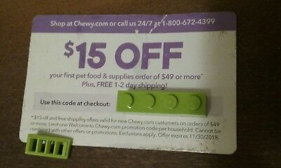 Chewy.com coupon code $15 off first $49+ order + no cost shipping! Exp 11/30/18