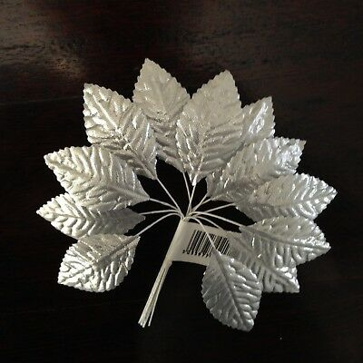 Silver Rose Leaves Wedding Cake Tiara Millinery 12 Leaves Corsage