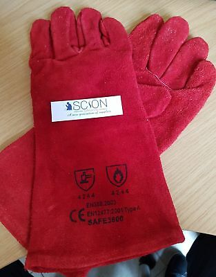 Welding Gloves Gauntlets Welders Red Pair