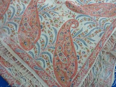 Antique/Vintage Cotton/Silk Shawl Paisley Design Boho Requires Further Repair