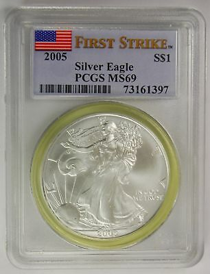 2005 PCGS MS69 Silver Eagle Dollar (First Strike)