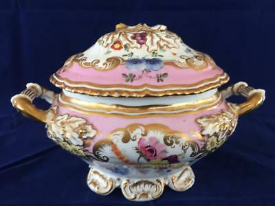 Good Antique Coalport / Minton Fine Bone China Lidded Tureen. C1830.
