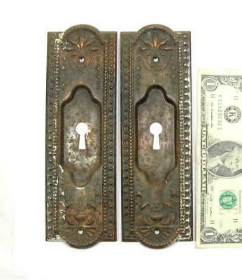Vintage Pocket Door Back Plate Pull Handle Pair Keyhole Escutcheon Ornate Old