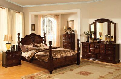 Tuscan II Traditional Glossy Pine Brown Poster 4PC Bedroom Set Antique Gold Trim