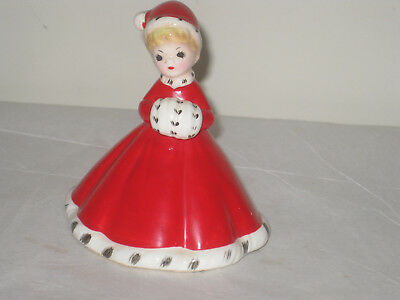 Vintage Josef Originals Girl Red With Muff & Santa Hat Bell w label SOLD AS IS
