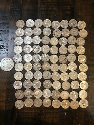 90% Silver Quarters - $20 Face Value 2 Rolls One Morgan Silver Dollar