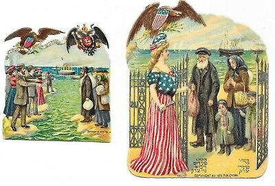 1909 Lady Liberty&Americans Welcoming Immigrants Two Diff Antique Diecut Scraps