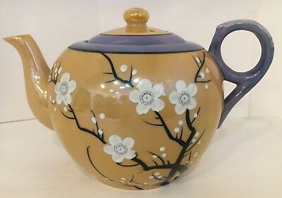 Vintage Lusterware Teapot with White Cherry Blossoms  Hand Painted Made in Japan