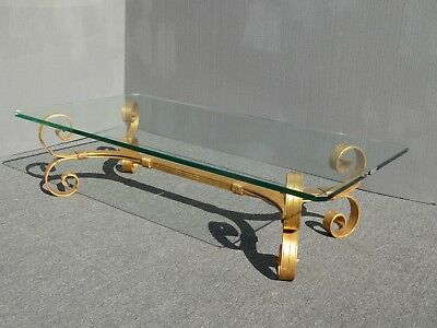 Vintage Spanish Style Gold Wrought Iron Glass Coffee Table ~ Hollywood Regency