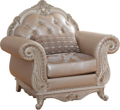 Marian Classic Crystal Tufted Pearl White Bonded Leather Chair w/Exposed Wood Fr