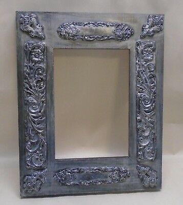 Hand Painted Wood Picture Frame, Vintage Appliques, Metallic Silver 5 x 7