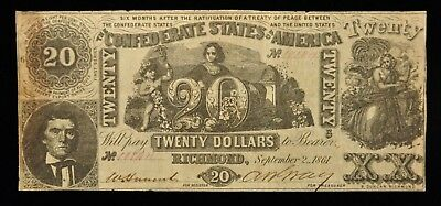 1861 Confederate $20 Note T61 Industry & Cupid Item K-20