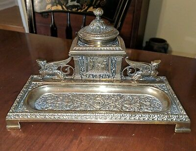 Antique Classical Inkwell Pen Tray Standish Brass Griffins