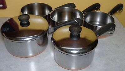 Vintage Lot Of 5 1801 Revere Ware Cookware Pans Copper Bottom