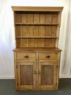 Antique farmhouse pine kitchen - welsh dresser with 2 drawers #2185L