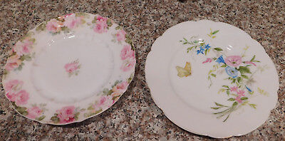 """Vintage Haviland H & Co Fine China Hand Painted  Butterfly  8"""" Display Plate + 1"""
