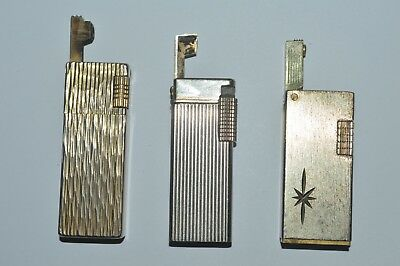 Vintage 1970's Lift Arm Lighters 3 Count Butane Not Working Sold As-Is For Parts