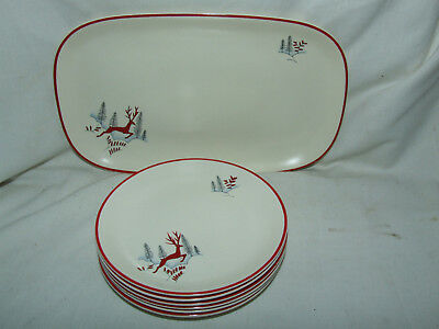 Crown Devon Fieldings Stockholm Pattern Sandwich Set 6 Plates + Serving Dish
