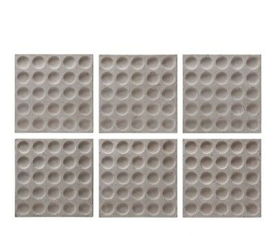 """Set of 6, Rogero Square Concaved Iron Wall Art in Antique Stone White, 20""""x20"""
