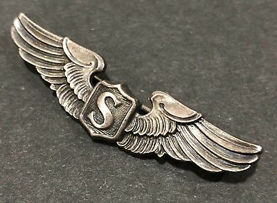 """WWII US Service Pilot Wings Sterling Silver AMICO 2"""""""