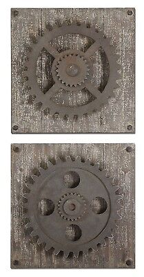 """New Set of 2, Rustic Gears Wall Art w/ Distressed Aged Ivory White Wood - 17""""x17"""