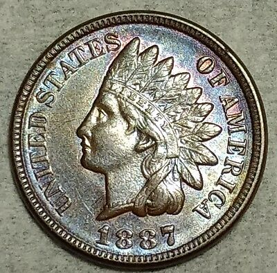 Brilliant Uncirculated 1887 Indian Head Cent! Beautifully toned piece!