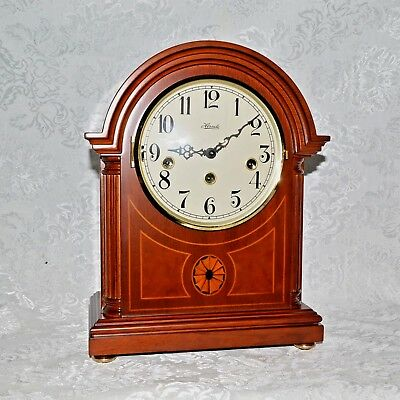 Franz Hermle Westminster Chime Inlay Wood Mantel Clock. Model 22827. New In Box.