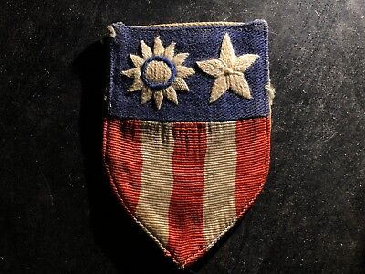 WWII US Army Air Corps Flying Tigers CBI AVG 9th AF Patch Linen Silk Thread