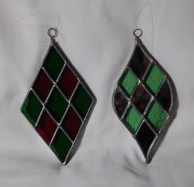 Set of 2 ~ Vintage ~ Leaded Stained Glass ~ Sun Catcher ~ Christmas Ornaments