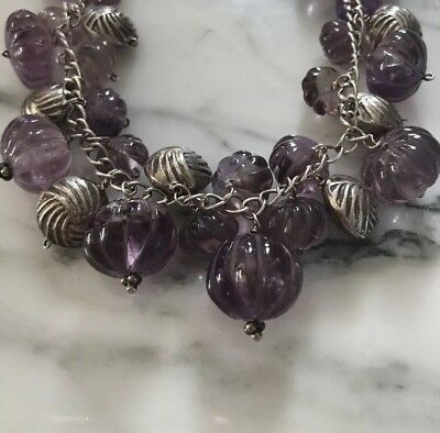 Vintage carved Natural Amethyst melon dangle Bead Pendant Necklace Silver 18.5""