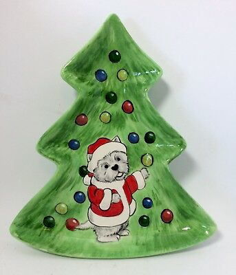 Christmas tree Westie terrier cookie dish original OOAK sculpture art painting