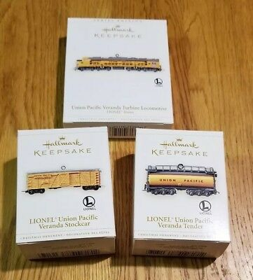 Lot of 3 Hallmark Keepsake Ornament Lionel Train 11th in the series year 2006