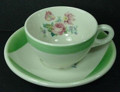 Coffee Cup And Saucer Set Syracuse Restaurant Ware China Green White Flowers s