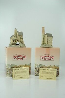 David Winter Cottages CORNISH TIN MINE '83 +  TAMAR COTTAGE '86 Figurine in BOX