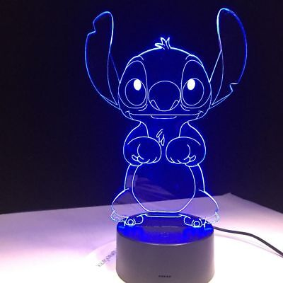 Cartoon Lamp 3D Stitch Night Light 7 Color Change LED Desk Touch Room Decor Gift