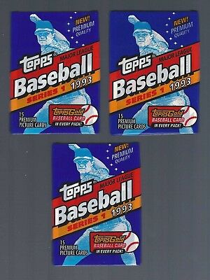 (3) 1993 TOPPS baseball series 1 wax packs - Fresh from box - possible Jeter RC?