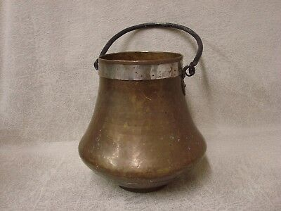 Antique Vintage Hand Hammered Copper Pot Wrought Iron Handle Pewter Base