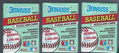 (3) 1991 DONRUSS Series 2 Baseball Wax Packs - 15 cards + 3 puzzle per pack